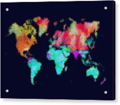 Dotted World Map 3 Acrylic Print by Naxart Studio