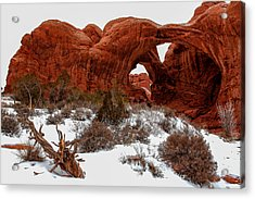 Double Arch In Snow Acrylic Print by John McArthur