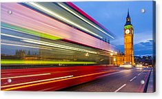 Double Decker And Big Ben Acrylic Print by Adam Pender