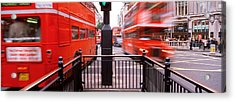 Double-decker Buses On The Road, Oxford Acrylic Print by Panoramic Images