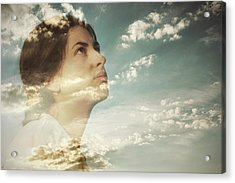 Double Exposure Of A Young Woman And Acrylic Print by Owl Stories