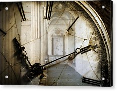 Double Exposure Of Antique Pocket Watch And Old Architecture Acrylic Print by Ilbusca