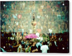 Double Exposure Of Crowd And Communications Tower Acrylic Print by Thorsten Gast / EyeEm