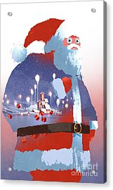 Double Exposure Of Santa Claus And Acrylic Print
