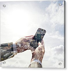 Double Exposure Of Smart Phone And Acrylic Print by Tim Robberts