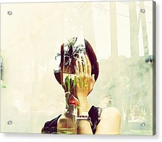 Double Exposure Of Woman And Trees With Reflection Acrylic Print by Quan Tran Minh / EyeEm