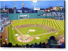 Double Play In Fenway Acrylic Print by Candace Lovely