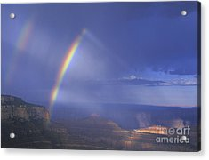 Acrylic Print featuring the photograph Double Rainbow At Cape Royal Grand Canyon National Park by Dave Welling