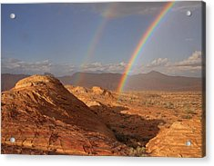 Double Rainbow At The Valley Of Fire Acrylic Print
