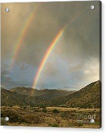 Double Rainbow In Desert Acrylic Print