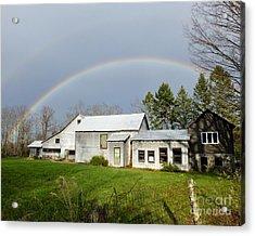 Acrylic Print featuring the photograph Double Rainbow Over Barn by Kristen Fox