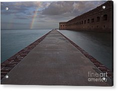 Double Rainbow Over Fort Jefferson Acrylic Print