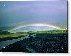 Double Rainbow Over Iceland Acrylic Print by Simon Fraser/science Photo Library