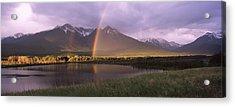 Double Rainbow Over Mountain Range Acrylic Print