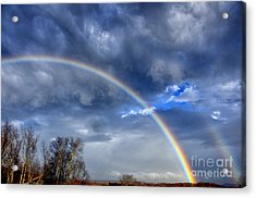 Double Rainbow Over Mountain Acrylic Print by Thomas R Fletcher