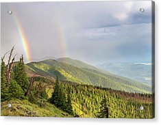 Double Rainbow Over The Whitefish Range Acrylic Print by Chuck Haney