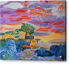 Acrylic Print featuring the painting Candy Coated Monterey Sunset by Meryl Goudey