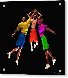 Double Teamed Acrylic Print by Walter Oliver Neal