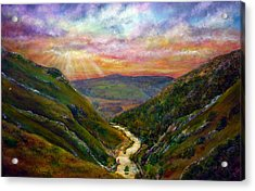 Dovedale Sunset Acrylic Print by Ann Marie Bone