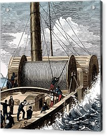 Dover To Calais Telegraph Wire, 1850 Acrylic Print by Science Source