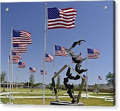 Acrylic Print featuring the photograph Doves And Flags by Allen Sheffield