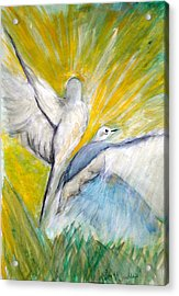 Doves At Sunrise Acrylic Print by Linda Waidelich