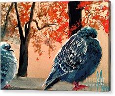 Acrylic Print featuring the drawing Doves Drawing by Maja Sokolowska
