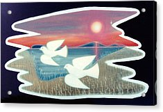 Acrylic Print featuring the painting Doves by Jason Girard