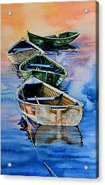 Down East Dories At Dawn Acrylic Print by Hanne Lore Koehler