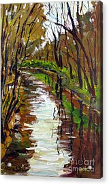 Down River From The Bridge Acrylic Print by Charlie Spear
