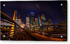Down Town Houston From The Buffalo Bayou Bridge Acrylic Print by Micah Goff