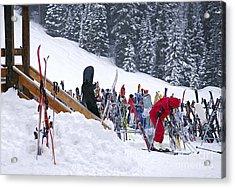 Downhill Skiing Acrylic Print by Elena Elisseeva