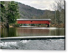 Acrylic Print featuring the photograph Downstream From The Historic Hillsgrove Covered Bridge by Gene Walls