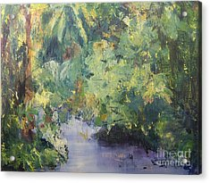Acrylic Print featuring the painting Downstream by Mary Lynne Powers