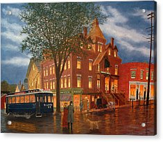 Acrylic Print featuring the painting Downtown Bristol by Rick Fitzsimons