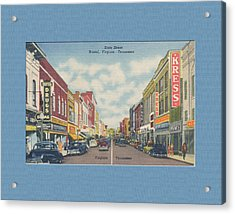Downtown Bristol Va Tn 1940's Acrylic Print by Denise Beverly