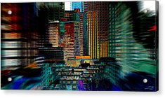 Acrylic Print featuring the digital art Downtown Chaos by Stuart Turnbull