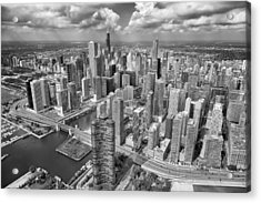 Downtown Chicago Aerial Black And White Acrylic Print