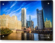 Downtown Chicago At Franklin Street Bridge Picture Acrylic Print