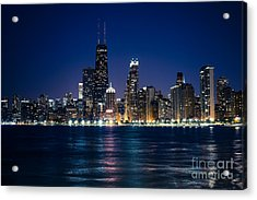 Downtown City Of Chicago At Night Acrylic Print by Paul Velgos