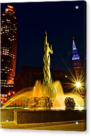 Downtown Cleveland Acrylic Print by Frozen in Time Fine Art Photography
