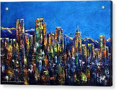 Downtown Denver Night Lights Acrylic Print
