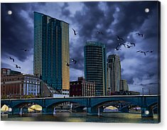 Downtown Grand Rapids Michigan By The Grand River With Gulls Acrylic Print by Randall Nyhof