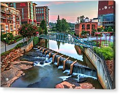 Downtown Greenville On The River Acrylic Print