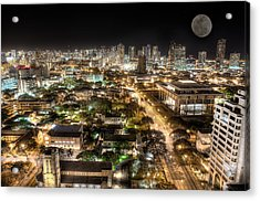 Downtown Honolulu Moonrise Acrylic Print