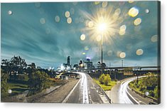 Downtown Houston Flooding At Night Acrylic Print by Onest Mistic