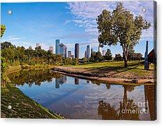 Downtown Houston Panorama From Buffalo Bayou Park Acrylic Print