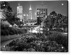 Downtown Indianapolis Skyline At Night - Black And White Acrylic Print