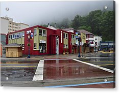 Acrylic Print featuring the photograph Downtown Juneau On A Rainy Day by Cathy Mahnke
