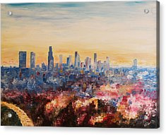 Downtown Los Angeles At Dusk Acrylic Print by M Bleichner